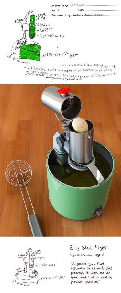 De aardappelsnijder en frituurpan in 1
